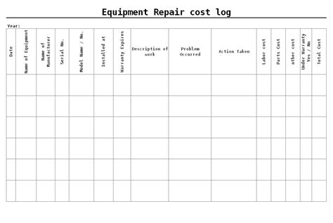 equipment troubleshooting report template equipment repair cost log format