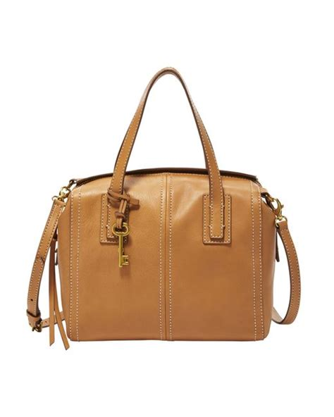 Tas Fossil Tote Bag Pouch fossil leather tote in brown lyst