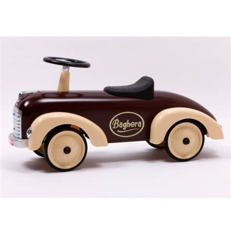 baghera 75 x 37cm speedster metal ride on car chocolate
