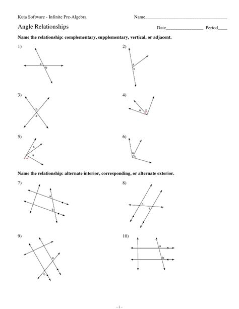 Geometry Angle Relationships Worksheet by Angle Relationships