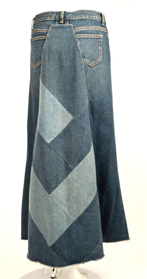 Denim Patchwork Skirt - laurent denim patchwork runway skirt new at 1stdibs