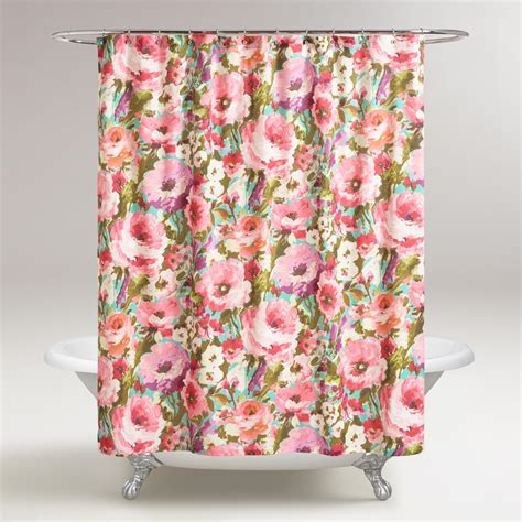 flowered shower curtains watercolor floral rosamunde shower curtain world market