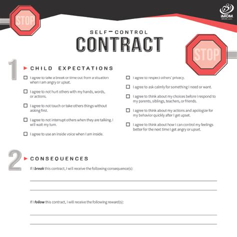 Free Printable Contracts For Kids And Teenagers Imom Fight Contract Template