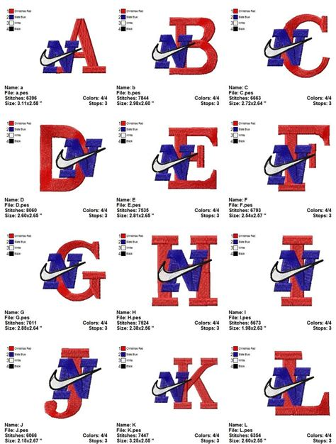 embroidery design nike nike alphabet embroidery designs instant download big