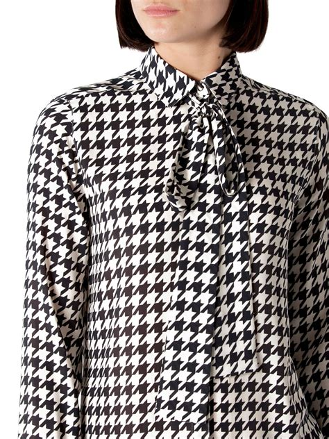 Blouse Houndstooth hilfiger houndstooth print blouse in black white lyst