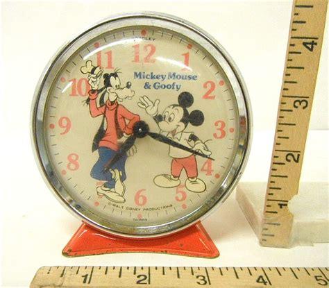 vintage walt disney productions mickey mouse goofy alarm clock windup bradley ebay