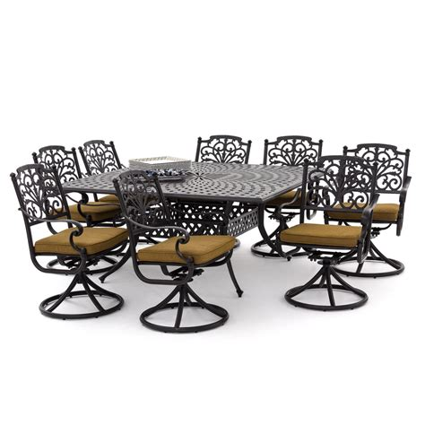 Swivel Rocker Patio Dining Sets Evangeline 9 Cast Aluminum Patio Dining Set With Swivel Rockers And Square Table By