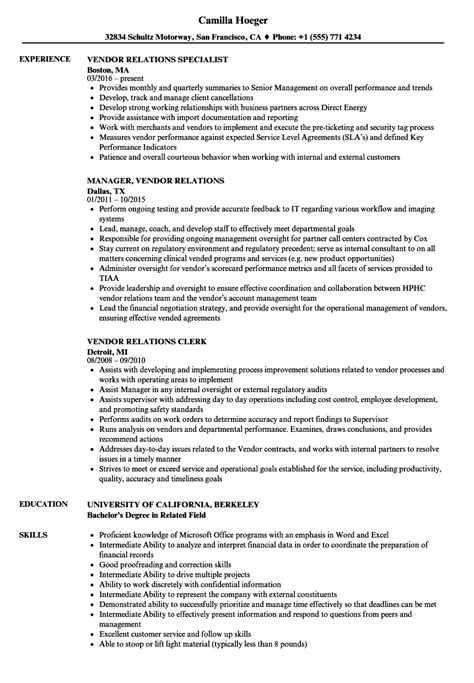 Vendor Relations Manager Sle Resume by Resume Cover Letter Executive Assistant Position Resume Cover Letter Exles For High School