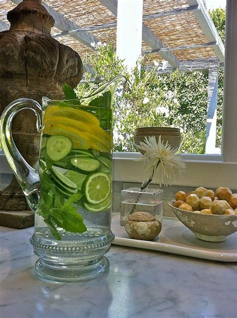 Lemon Lime Detox Water by Beautiful Detox Waters And Glasses On