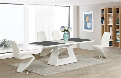 High Gloss Dining Table Sets White High Gloss Grey Glass Ex Dining Table And 8 White Z Chairs