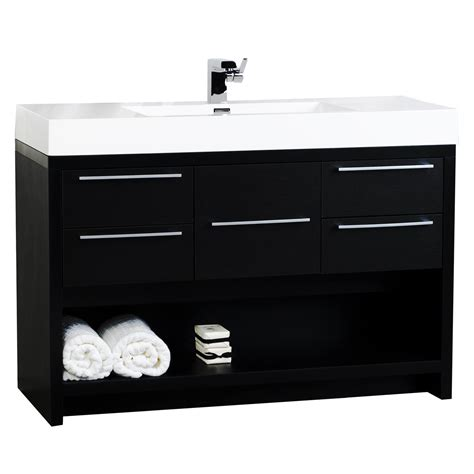 Modern Black Bathroom Vanity 47 Quot Modern Bathroom Vanity Set Black Finish Tn L1200 Bk Conceptbaths