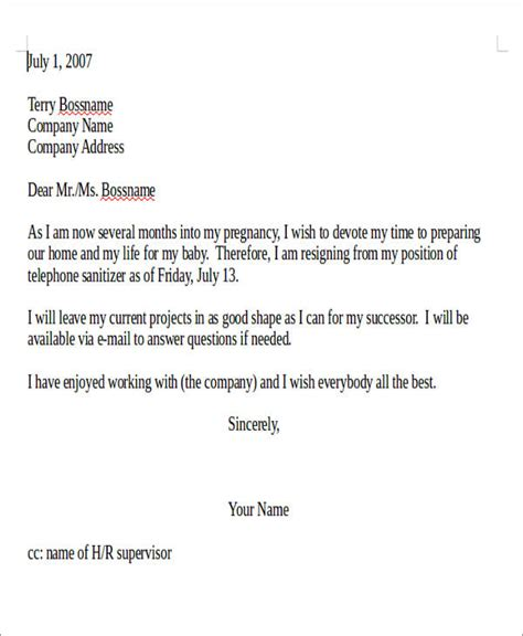 Immediate Resignation Letter For Pregnancy Sle Pregnancy Resignation Letter 5 Exles In Pdf
