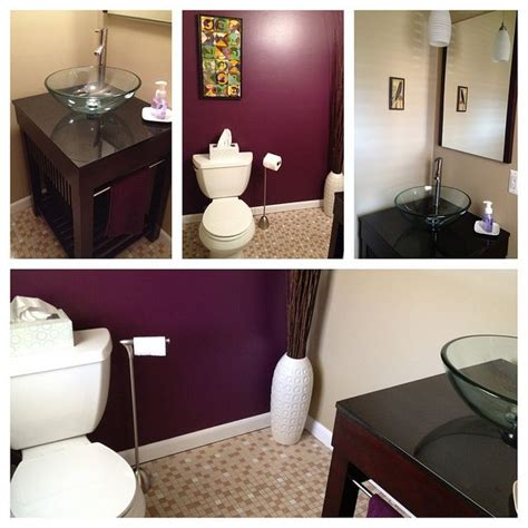 new half bath paint sherwin williams quot grape quot and quot basket beige quot house home