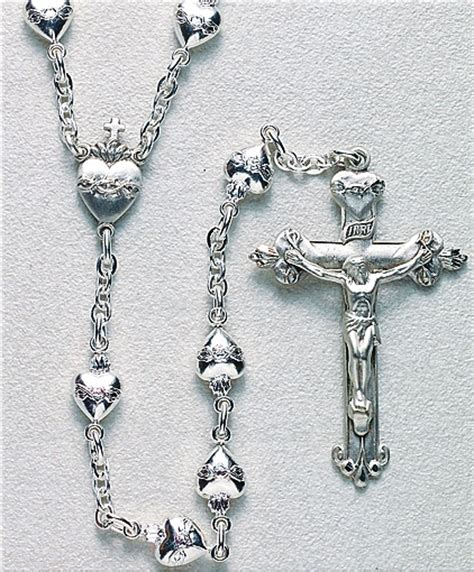 silver rosary hmh religious sacred of jesus solid sterling silver