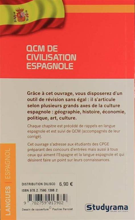 civilisation espagnole livre qcm de civilisation espagnole livre maribel molio studyrama poche langues