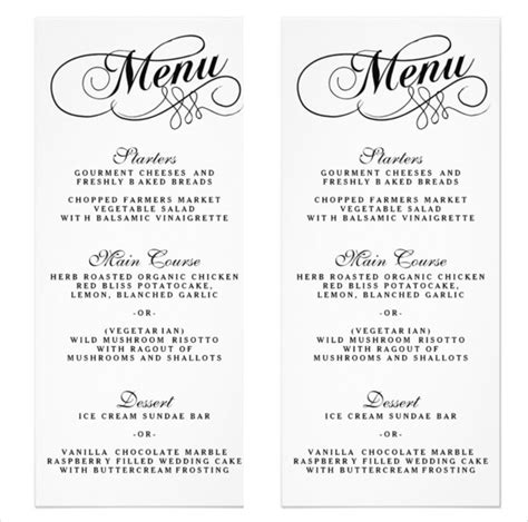 free printable wedding menu template 34 wedding menu templates free sle exle format