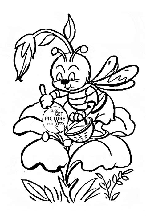 printable little flowers cute little bee pollinating a flower coloring page for