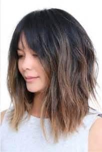 lob hairstyles with bangs ahn co a line layered lob with soft bangs hair