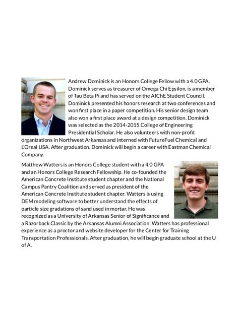 Of Arkansas Mba Scholarships by College Of Engineering Announces Outstanding Seniors