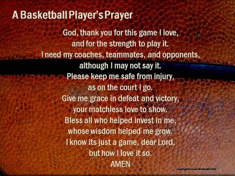 athlete s basketball prayer basketball poem pre game