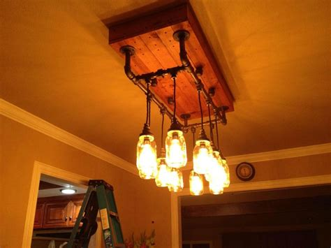 Pipe Chandelier Diy Wanted To Work With Iron Pipe Jars And Cloth Wire So I Did Album In Comments Jars