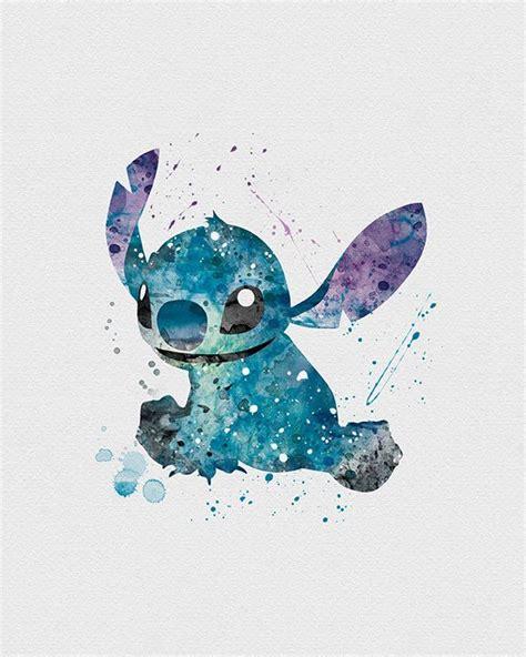 printable disney art stitch lilo stitch watercolor art print lilo stitch