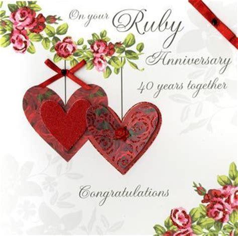 Ruby Wedding Anniversary Card Verses by Finished Ruby Anniversary Card Large Luxury Card