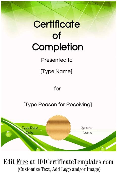 certificate  completion customize   print