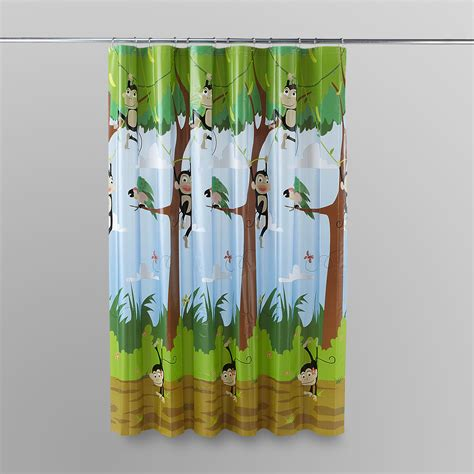 monkey curtains essential home monkey cousin shower curtain shop your