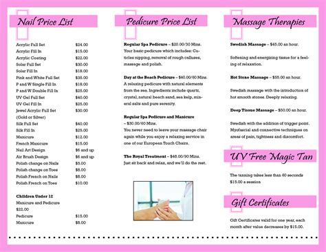 nail salon price list template nail salon price list sle