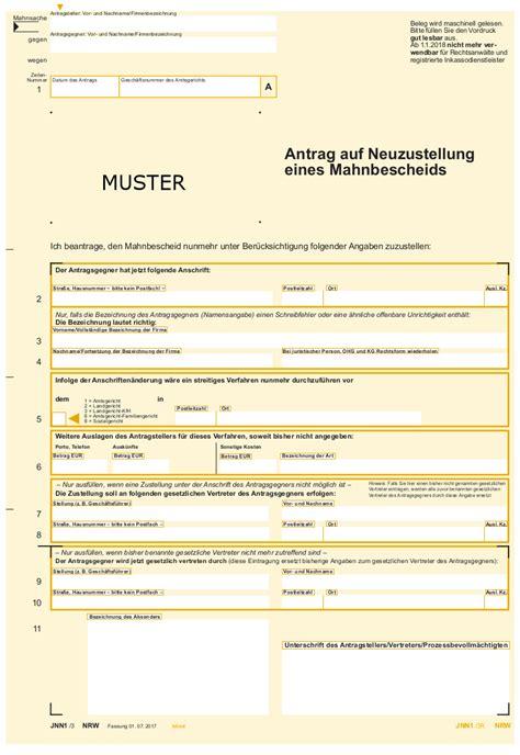 Vorlage Antrag Mahnbescheid nrw justiz formularmuster im automatisierten mahnverfahren