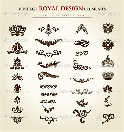 royal design elements vector antique tattoo designs flower vintage royal design