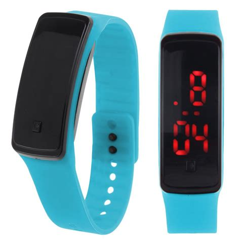 Led Sport Watches Aa W027 womens mens silicone band digital led bracelet wristwatch sports running watches ebay
