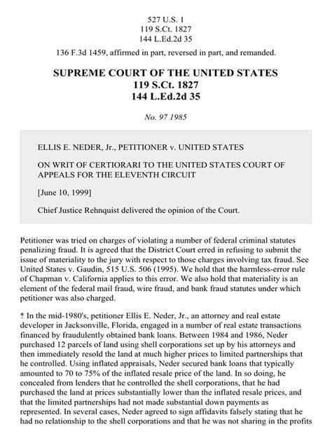 Neder v. United States, 527 U.S. 1 (1999)   Fraud