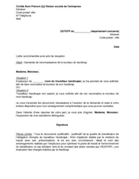 Exemple De Lettre De Demande De Travailleur Handicapé Lettre De Demande De Reconnaissance De La Lourdeur Du Handicap Mod 232 Le De Lettre Gratuit