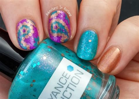 paisley pattern nails paisley skittlette manicure adventures in acetone