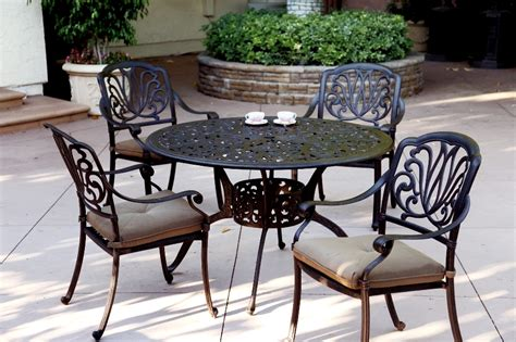 Cast Aluminum Patio Furniture Sets Patio Furniture Dining Set Cast Aluminum 48 Quot Table 5pc Lisse
