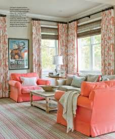Coral And Grey Curtains Living Room