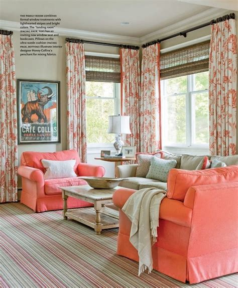 Coral Color Living Room by Living Room