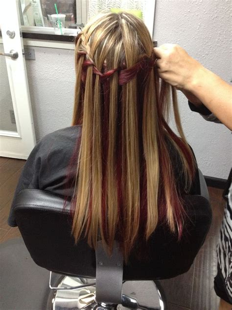 highlights under crown hair 2015 burgundy underneath and highlights on top waterfall braid