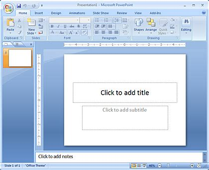 Microsoft Office Powerpoint 2007 inserting a new slide in powerpoint 2007 for windows