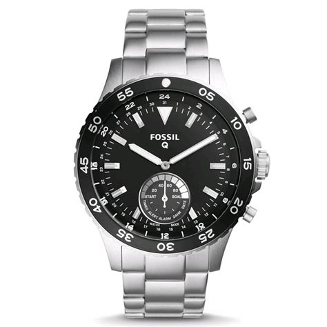 Fossil Rantai Tanggal Silver Cover Black fossil q crewmaster hybrid smartwatch 46mm silver metal band prices features