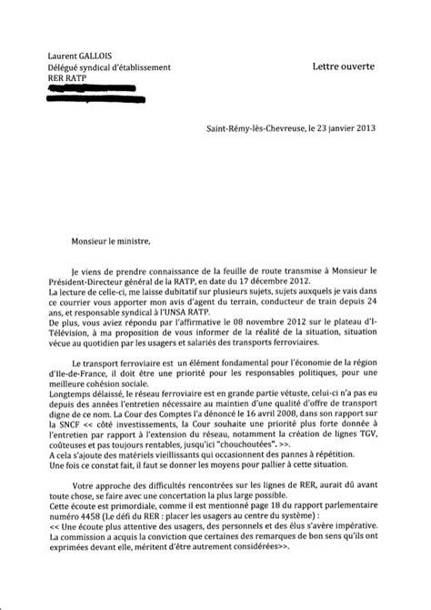 Exemple De Lettre Ouverte Sur L Environnement Lettre Ouverte Gallois Unsa Ratp A Ministre Cuvillier
