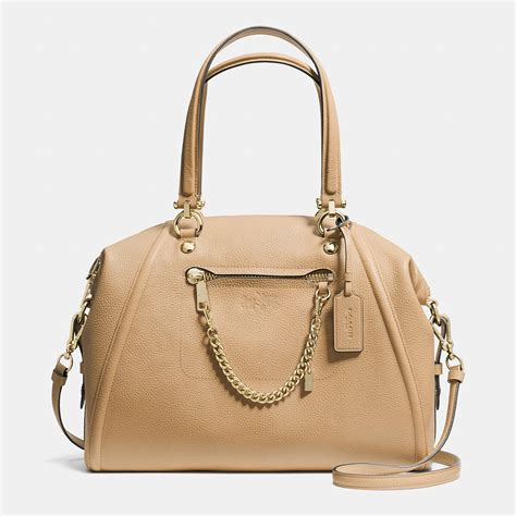 Coach Chain coach prairie satchel with chain in pebble leather in