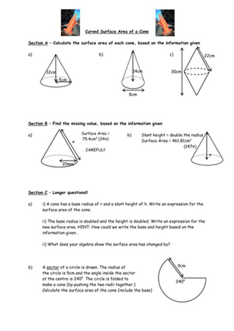 printable area formulas surface area of pyramids worksheet worksheets