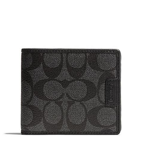 Coach Wallet Emboss Black Compact Id coach f74736 heritage signature compact id wallet charcoal black coach