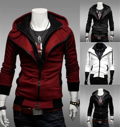 Jaket Parka Assasin Craem stylish creed hoodie cool slim s for assassins jacket costume coat ebay