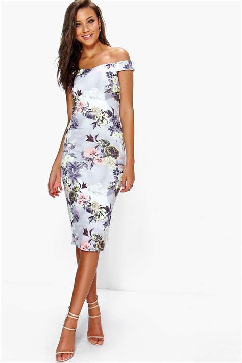Flowery Bodycon Midi Dress clothing for boohoo clothing