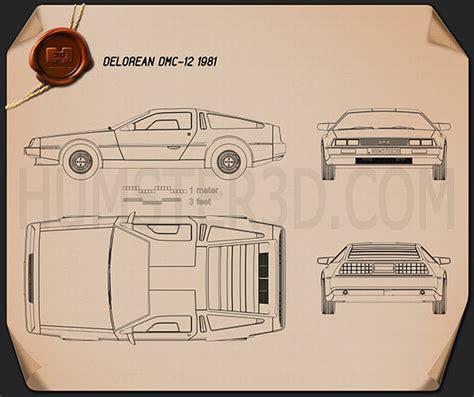delorean blueprint delorean dmc 12 1981 blueprint hum3d