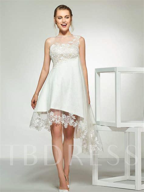 lace appliques high  beach wedding dress  tbdresscom